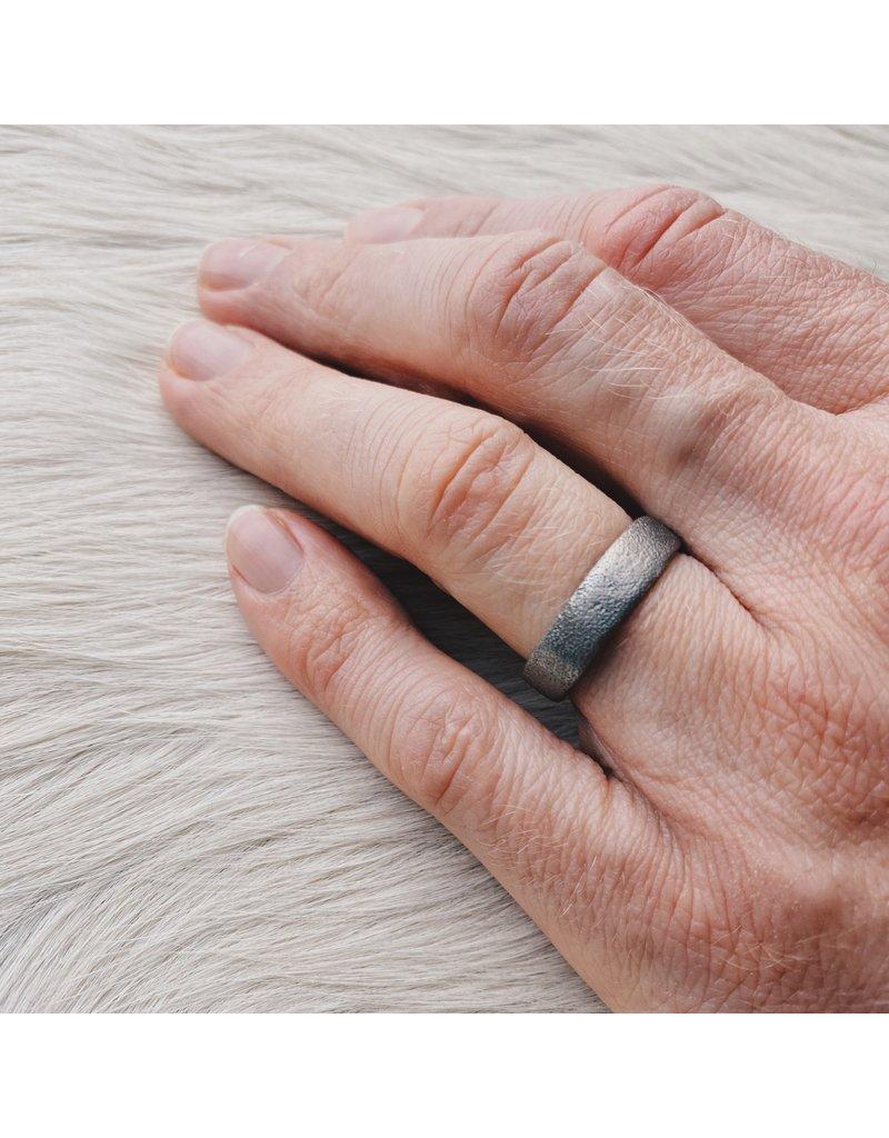 6mm Sand Texture Ring in 14k Palladium White Gold