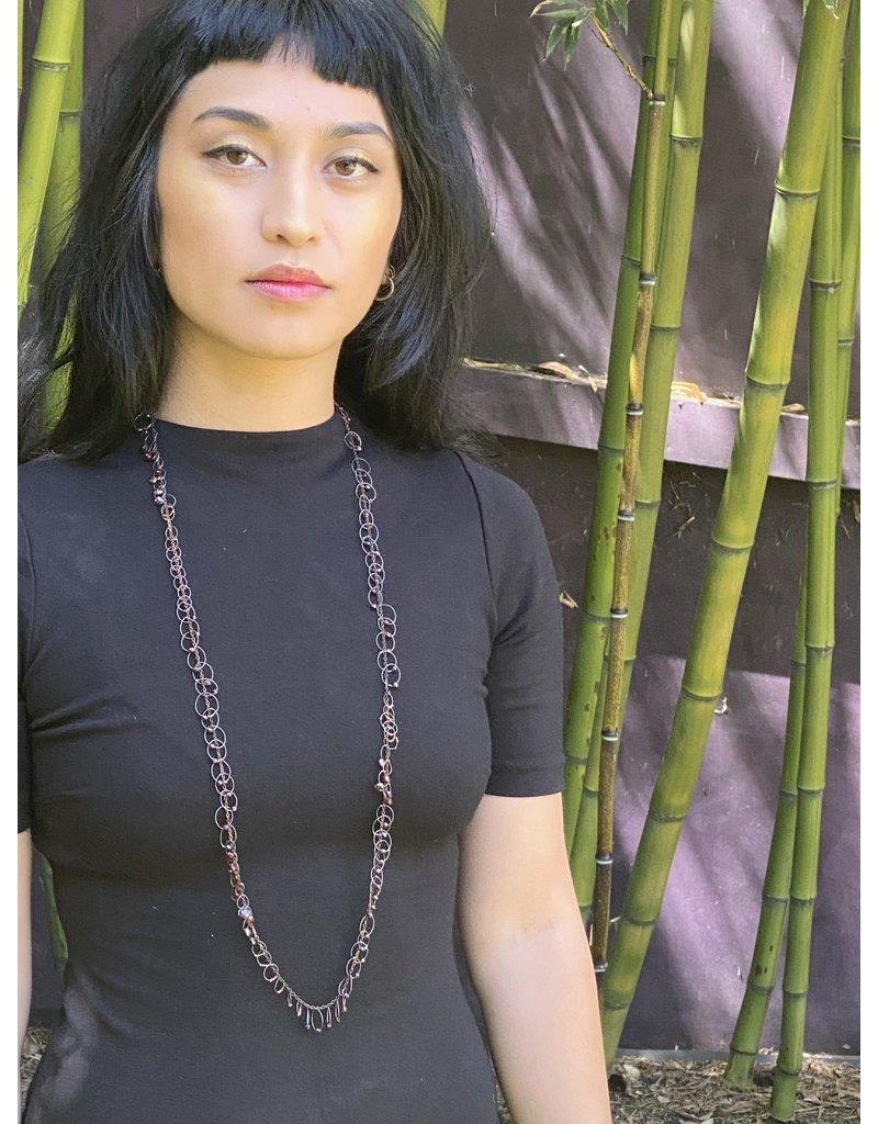 Long Garnet Bead Loops Necklace