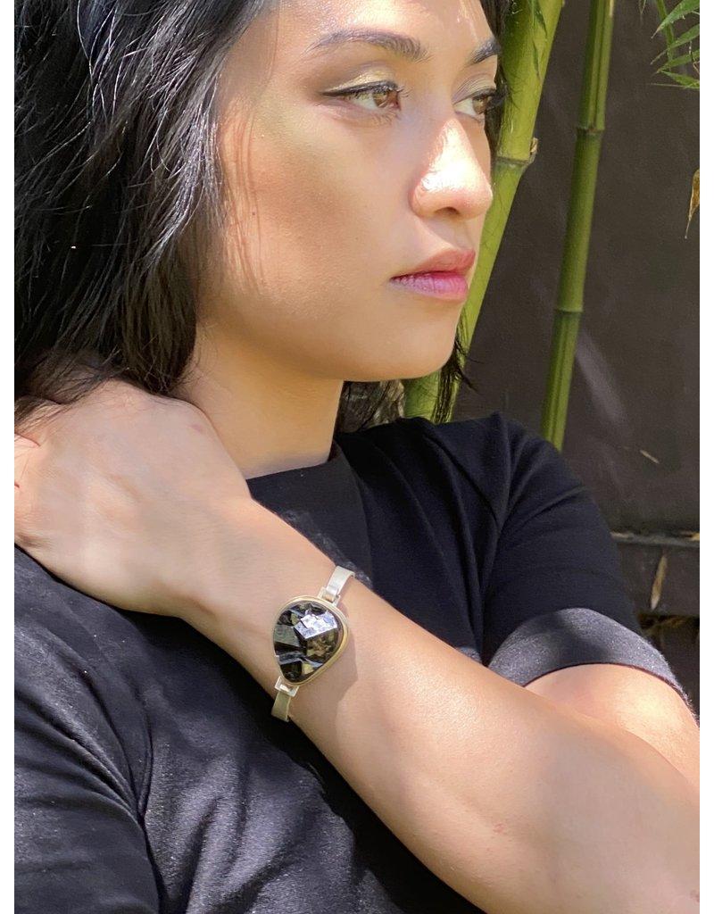 Rough Cut Black Garnet Cuff Bracelet with 18k Bezel and Silver
