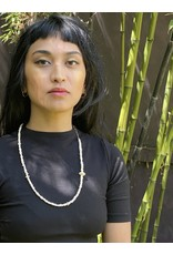 Small Bone Bead Necklace with Handmade Chain in 18k Gold