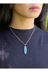 Moonscape Blue Enamel and 18ky Pendant