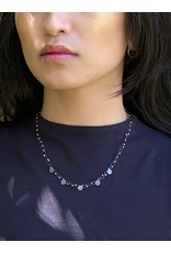 Delicate Mini Constellation Necklace with 24k-Lined Beads in Oxidized Silver