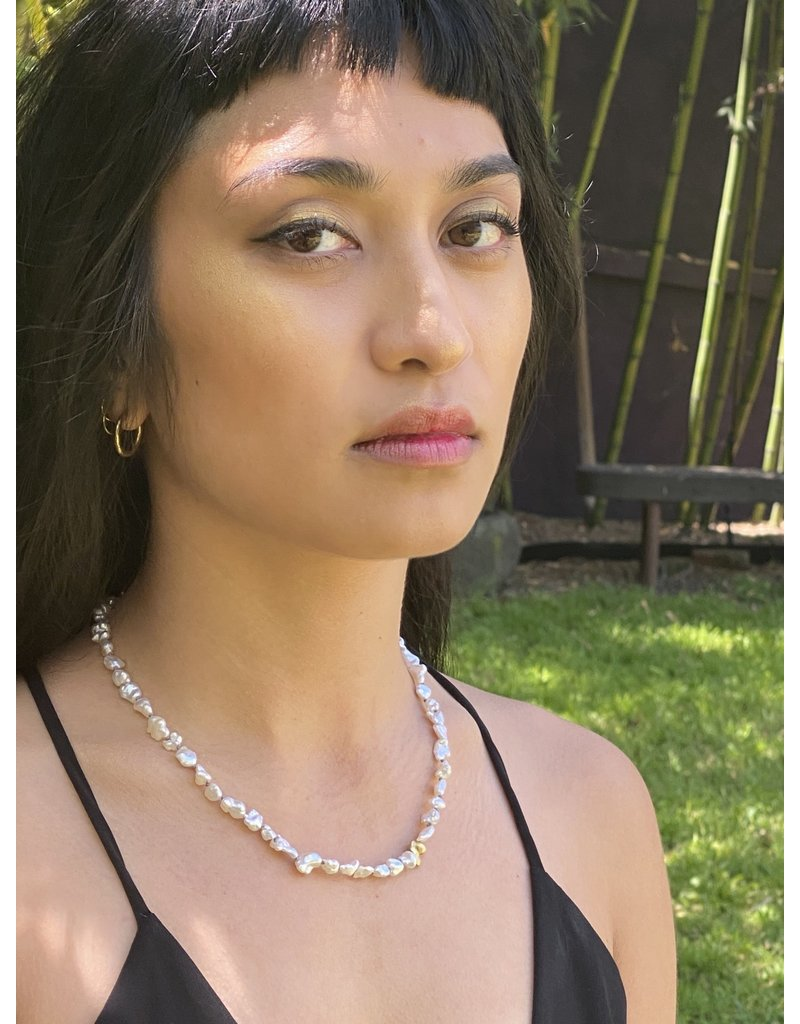 Keshi Pearl Necklace with Gold Bead and White Diamonds