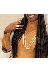 Elongated Bone Beads with Diamonds in Yellow Bronze