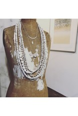 White Vinyl and Brass Necklace