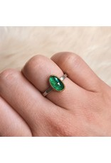 Sam Woehrmann Rosecut Emerald Ring in Silver & 22k Gold