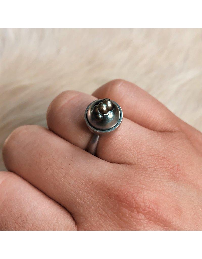 Tahitian Baroque Pearl Ring in Platinum