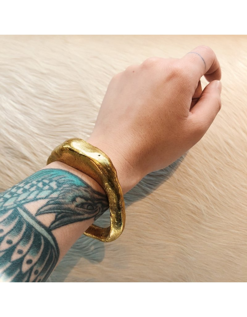 Chunky Bangle Bracelet in Brass