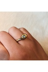 Brass Ring with White Sapphire