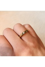 Organic Shape Ring in Brass with One White Sapphire
