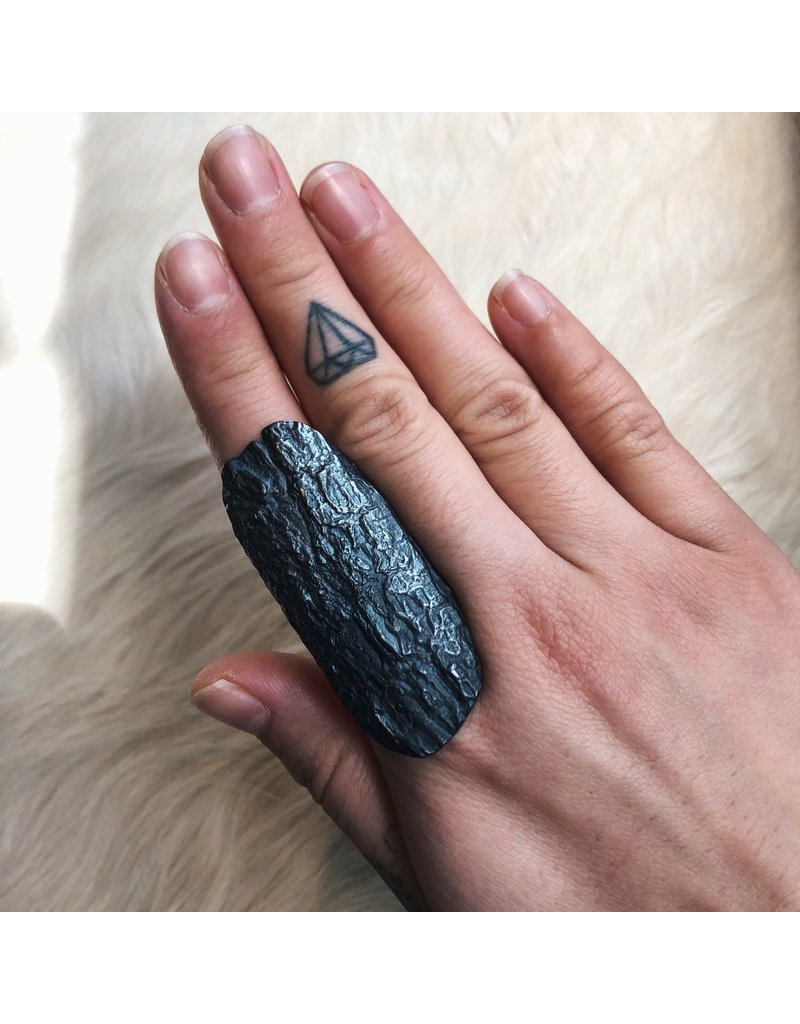 Bark Textured Ring in Oxidized Silver