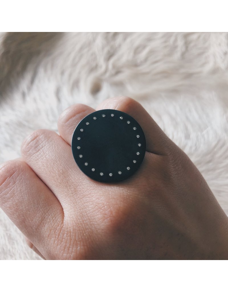 Circle Ring in Oxidized Silver with 21 White Diamonds