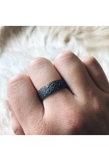Wide Sand Band in Oxidized Silver