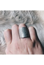 Textured Topography Cuba Ring in Silver with 2.5 mm White Sapphire