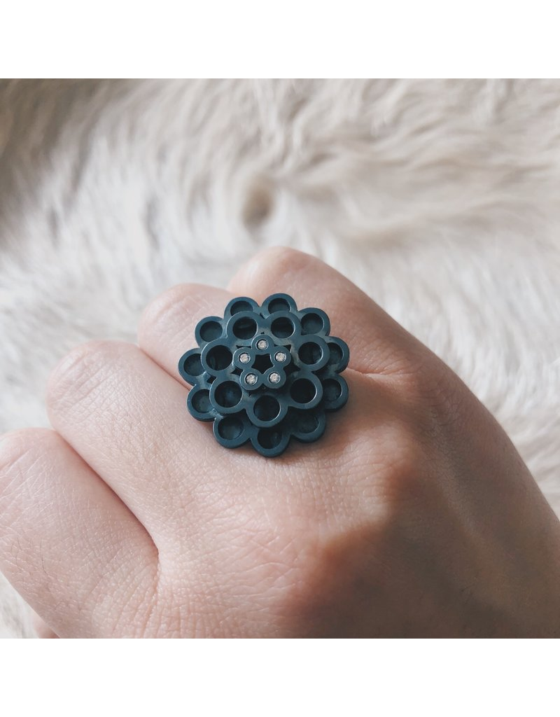 Round Oxidized Silver and Diamond Ring