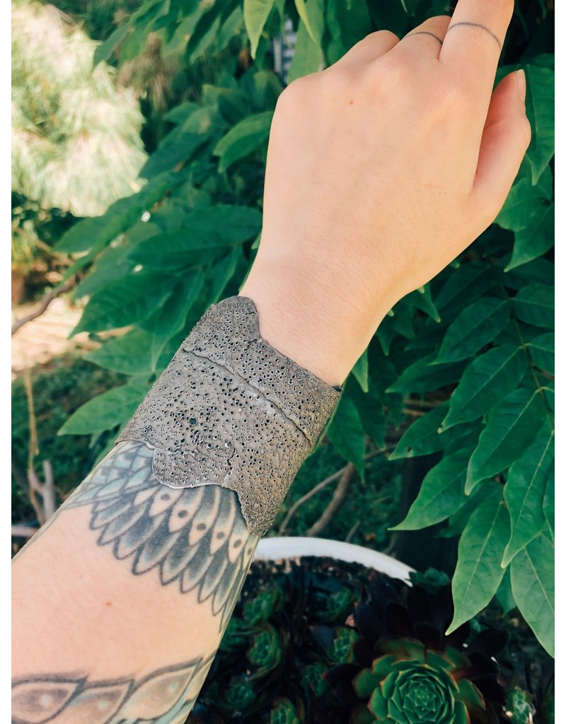 Raw Oxidized Silver Cuff Bracelet with Stippled Texture