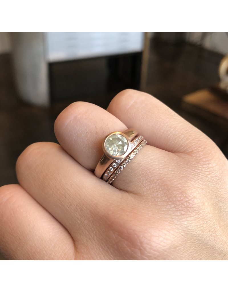 Raised Cup Solitaire with Pale Yellow Diamond in 14k Rose Gold
