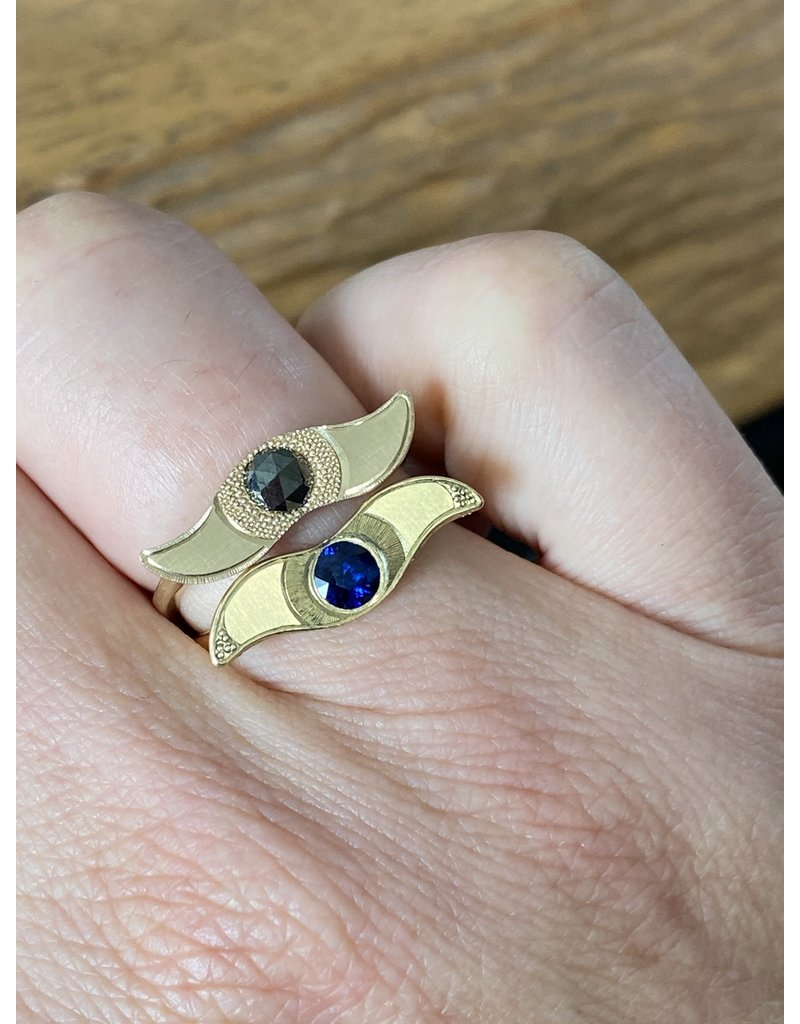 Blue Sapphire Mustache Ring in 18k Gold