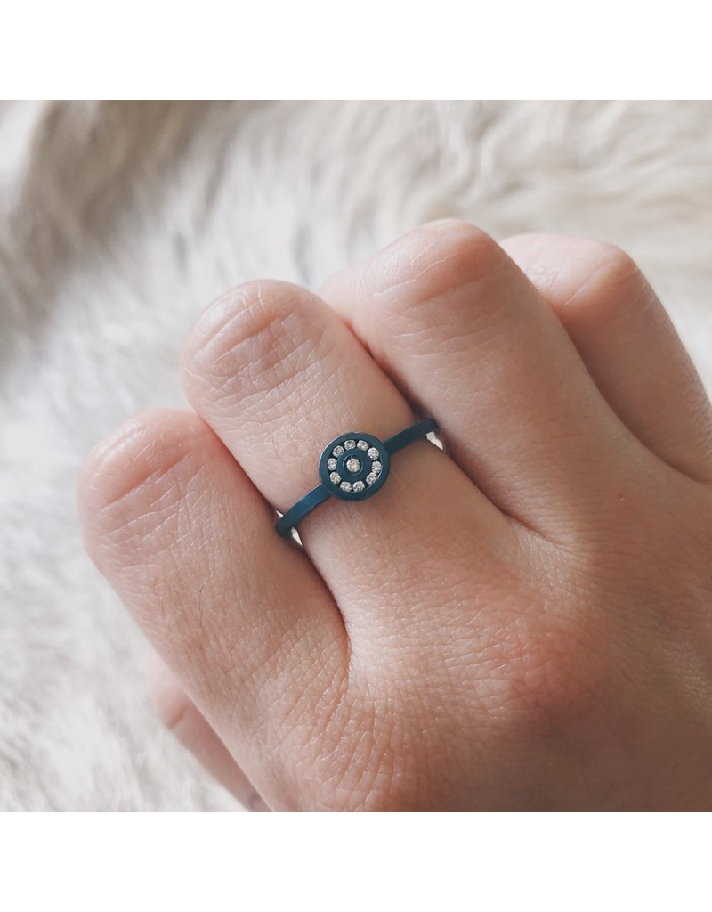 Diamond Circle Ring with White Diamonds in Oxidized Silver