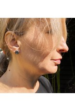 Medium Topography Post Earrings with White Diamonds in Oxidized Silver