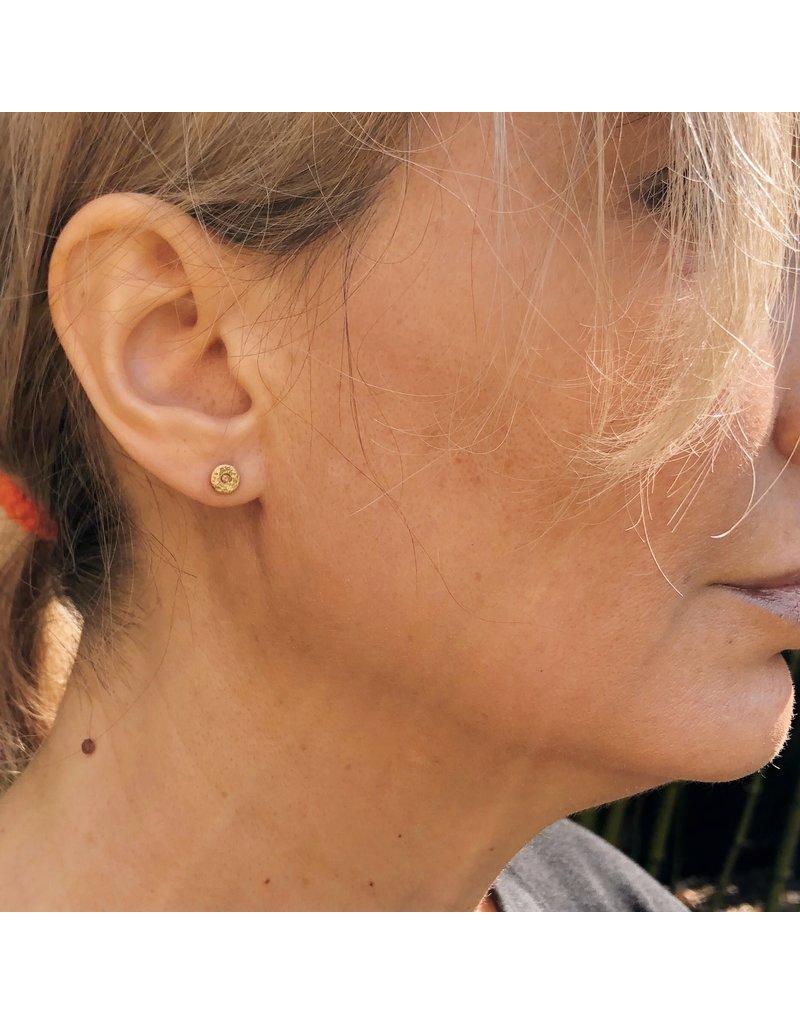 Cognac Diamond Post earrings in 18k Gold