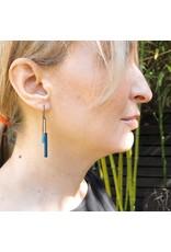 Spark Earrings in Teal Blue Wood