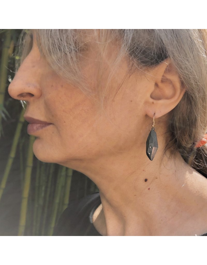 Flat Faceted Earrings in Oxidized Silver