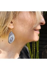 Botswana Agate Earrings in Oxidized Silver with 18k Yellow Gold
