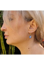 Small Organic Quartz Morpho Earrings in 18k Yellow Gold