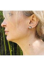 Small Biwa Post Earrings in Oxidized Silver