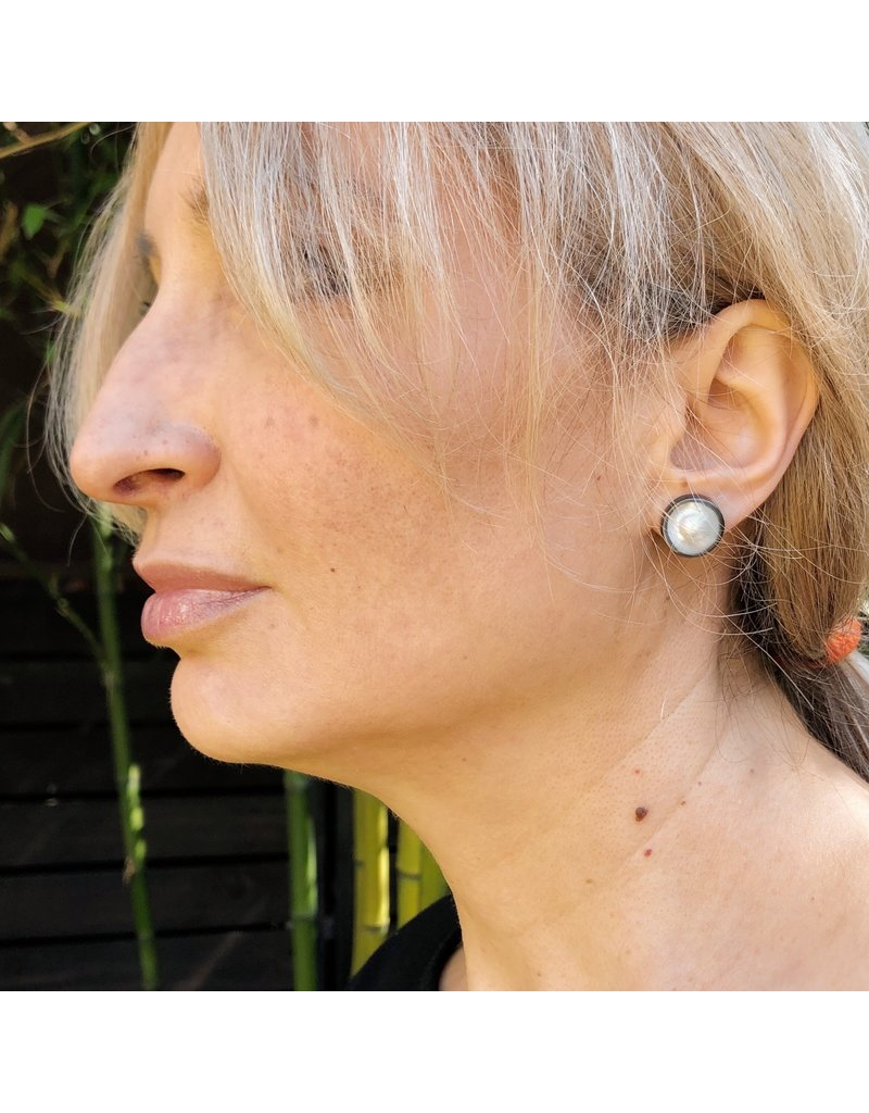 Medium Dome Pearl Earrings Post in Oxidized Silver and 14k Yellow Gold