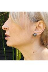 Black Tahitian Pearl Post Earrings in 18k Palladium White Gold