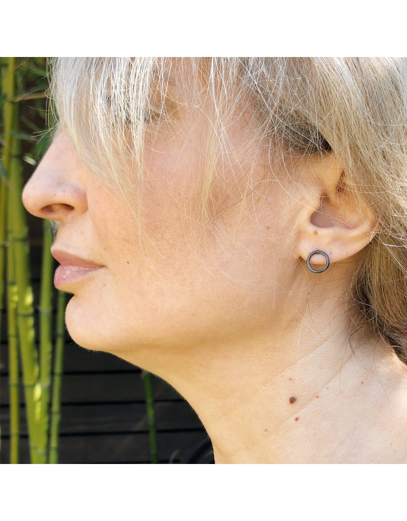 O Post Earrings in Oxidized Silver