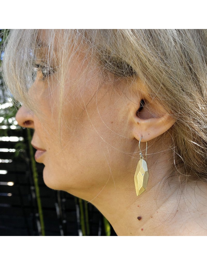 Flat Faceted Earrings in Yellow Bronze