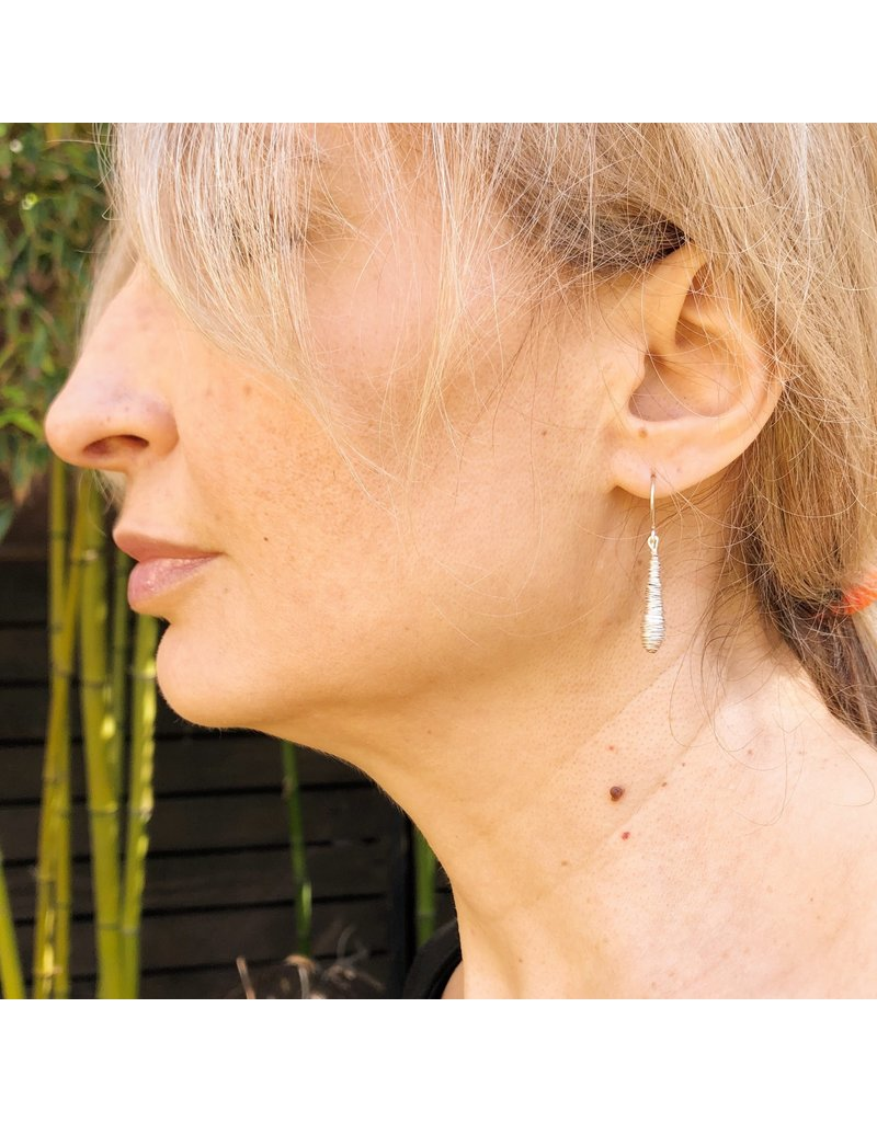 Hanging Wire Wrap Earrings in Silver