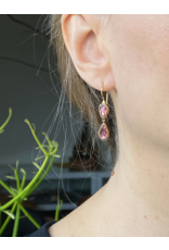 Organic Shaped Pink Sapphires Drop Earrings in 18k Yellow Gold
