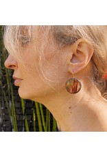 """Round """"Painted"""" Quartz Earrings in Oxidized Silver"""