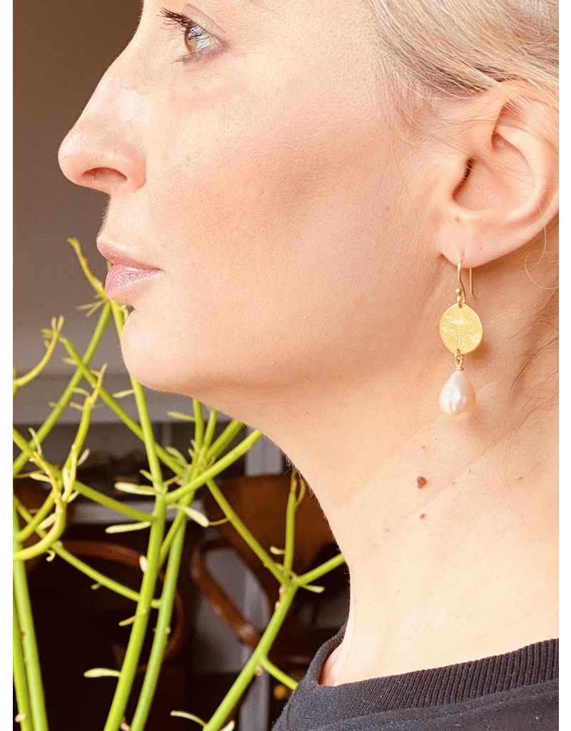 Recycled Gold Disc Earrings with Pearls in 18k & 20k Yellow Gold