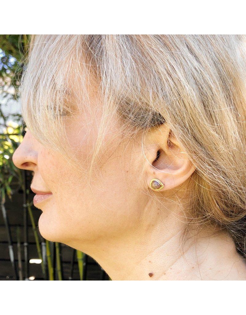 Teardrop Rosecut Diamond Post Earrings in 14k & 18k Yellow Gold