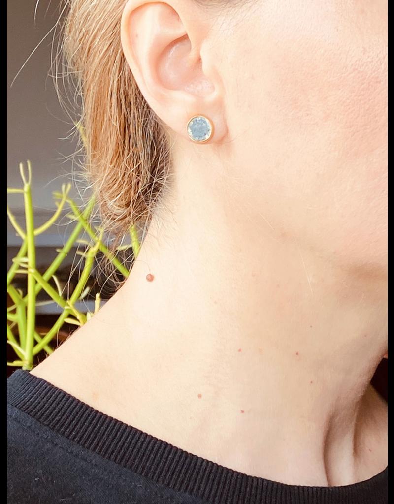 Diamond Slice Post Earrings in 18k Yellow Gold