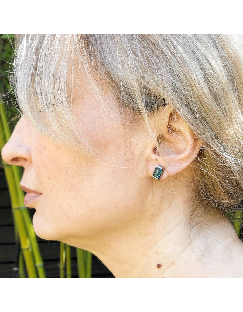 Indicolite Tourmaline Architectural Post Earrings in 18k Palladium White Gold