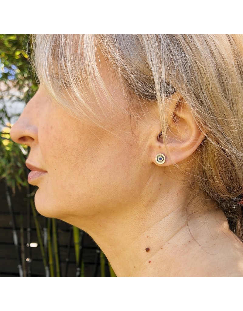 Circle Sapphire Post Earrings in Oxidized Silver