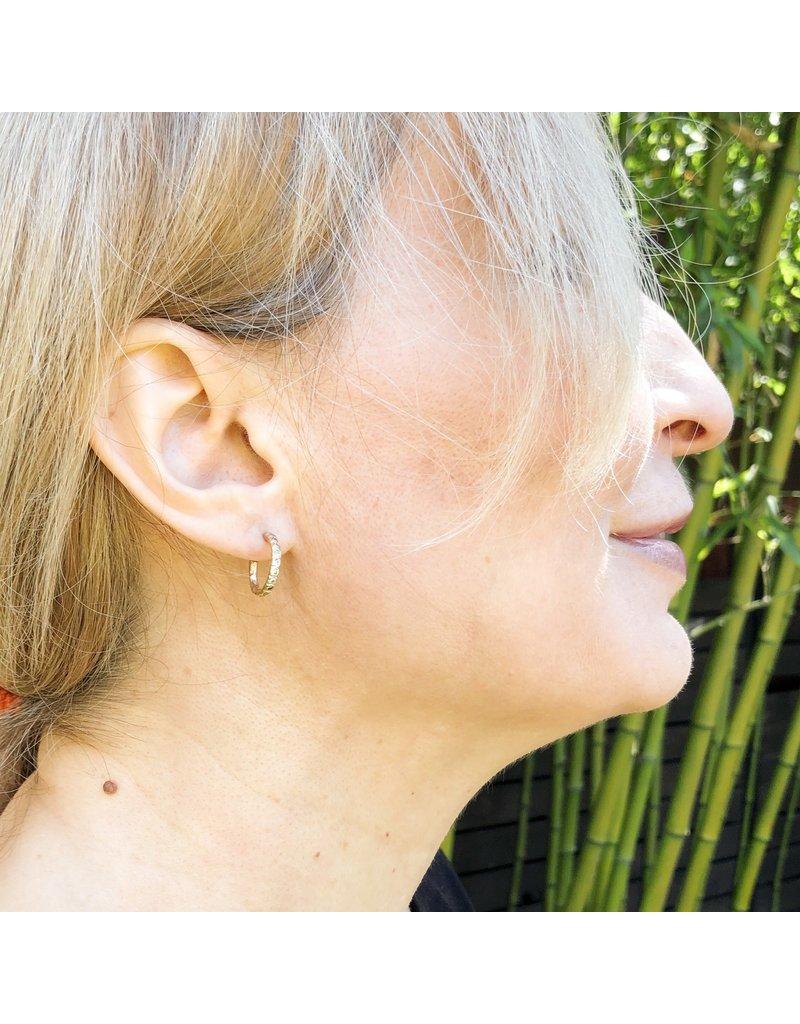 Champagne Diamond Beaded Hoop Post Earrings in 14k Gold