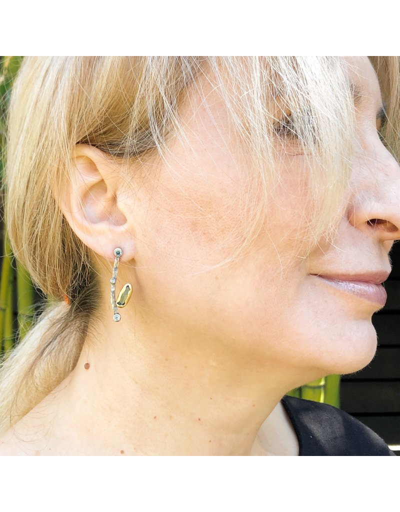 Curved Bar Earrings with Tourmaline, Diamonds, and Sapphires in Oxidized Silver & 22k Gold