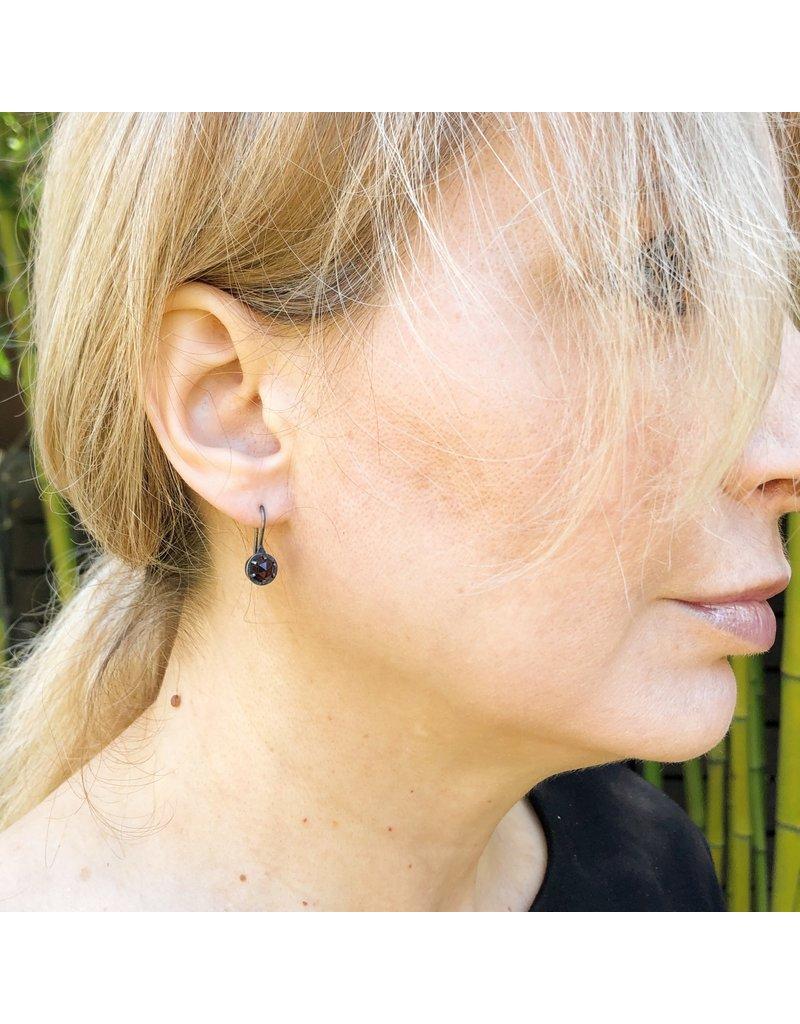 Prong Set Bohemian Garnet Earrings in Oxidized Silver with 22k Gold