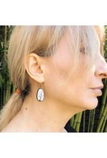 Oval Shadow Enamel Earrings in Oxidized Silver