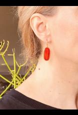 Oval Carnelian Earrings in 18k Yellow Gold