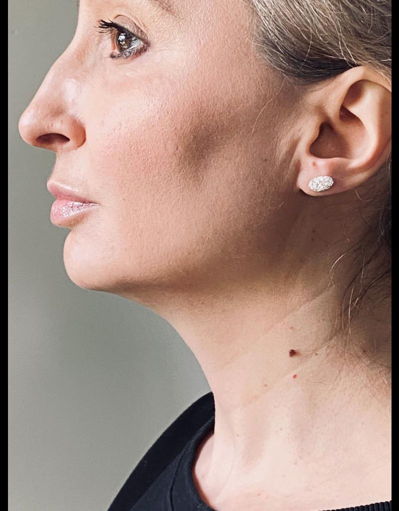 Furry Oval Post Earrings in Silver