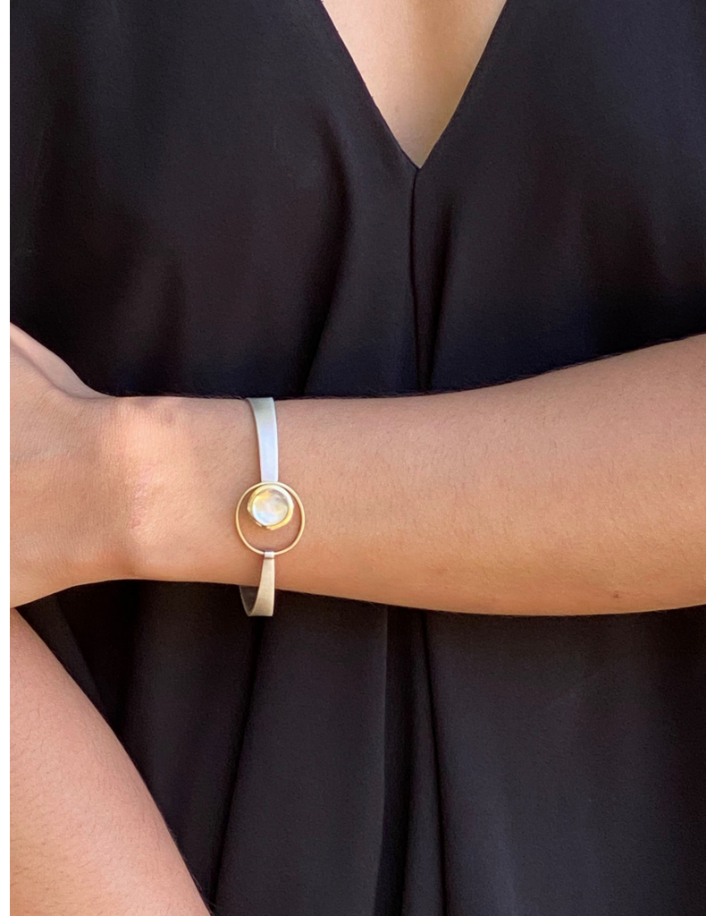 Moonstone Bracelet Cuff in 18k Yellow Gold and Silver