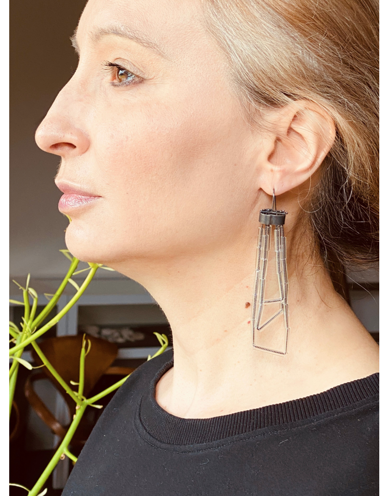 Glass Tube Earrings in Oxidized Silver